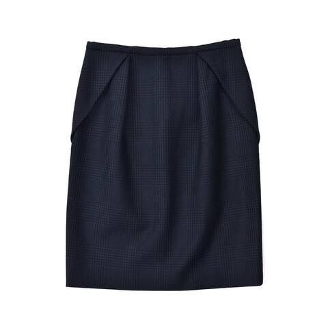 Stella McCartney Black Navy Checkered Wool Blend Folded Skirt ~RTL$695