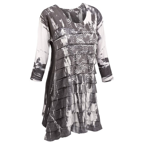 Women's Tunic Top - Layers Of Feathers Ruffled Black and White Shirt