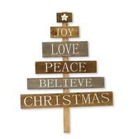 """Set of 2 Brown and Gray Christmas Tree Sign 31.5"""""""