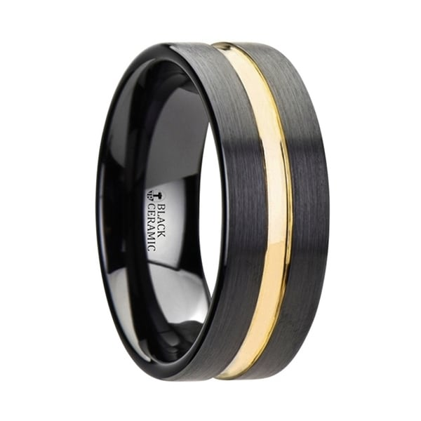 VIVALDI Black Ceramic Wedding Band With Yellow Gold Groove 8mm