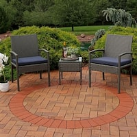 Sunnydaze Bita 3-Piece Wicker Rattan Patio Furniture Set with Dark Blue Cushions