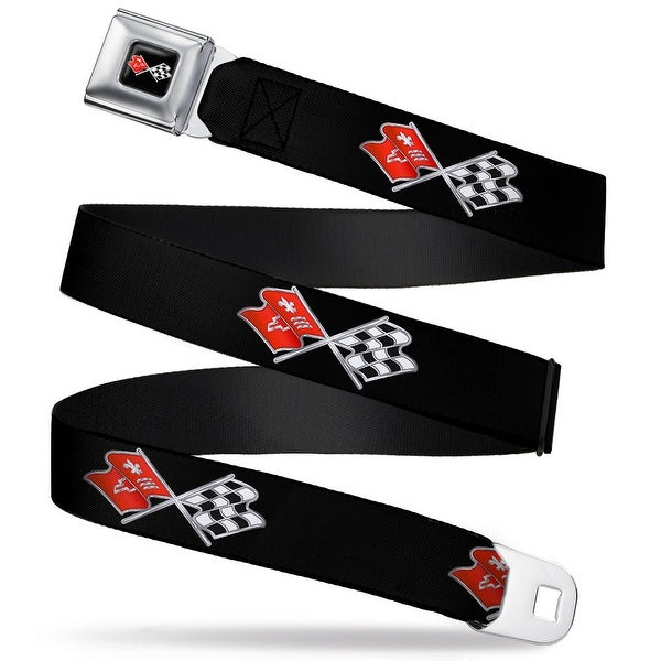 Corvette C3 Crossed Flags Logo Full Color Black Corvette C3 Crossed Flags Seatbelt Belt