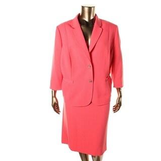 Tahari ASL Womens Plus Solid 3/4 Sleeves Skirt Suit - 14W
