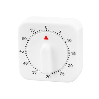 """Household Hotel Plastic Square Mechanical Alarm Timer 60 Minutes White - 2.3"""" x 2.3"""" x 1.3""""(L*W*T)"""