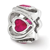 Italian Sterling Silver Reflections Fuschia CZ Heart bead (4mm Diameter Hole)