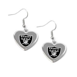 Oakland Raiders Non-Swirl Heart Shape Dangle Earring