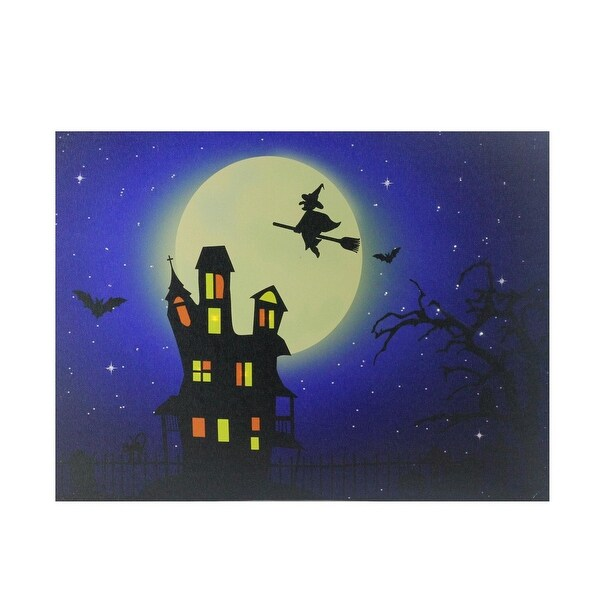 Shop Fiber Optic and LED Lighted Witch in the Moon Halloween Canvas ...
