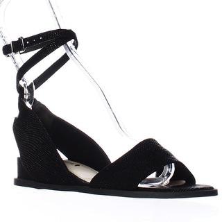 Via Spiga Enora Ankle Strap Up Low Wedge Sandals - Black