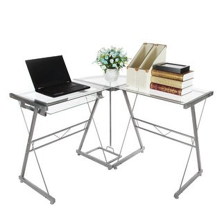 Tempered Glass L-shaped Computer Desk , Workstation with Pull-out Keyboard,PC Glass Desk for Home office