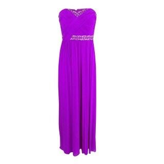 Decode 1.8 Women's Beaded Ruched Chiffon Strapless Dress (6, Purple) - Purple - 6