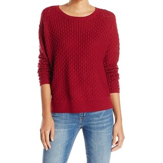 French Connection NEW Red Women's XS Textured Scoop Neck Wool Sweater