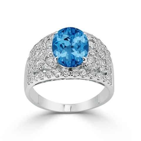 Auriya 3 1/5ct Oval Blue Topaz and Diamond Ring 1 1/3ctw 18K Gold