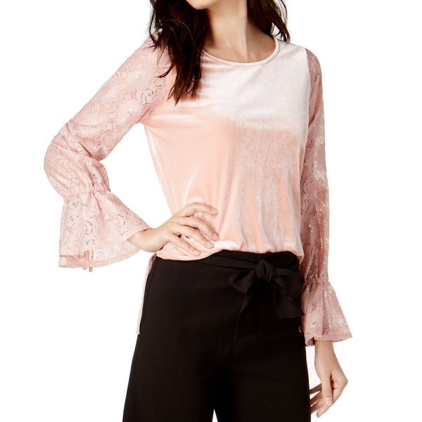 eaeb9e68d5d8c Shop Kensie NEW Dusty Rose Pink Women Size Medium M Lace-Sleeve Velvet  Blouse - Free Shipping On Orders Over  45 - Overstock - 21428358