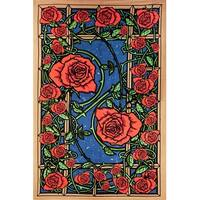 Handmade Cotton 3D Rose Window Tapestry Wall Art Beach Sheet 60x90 inches Blue