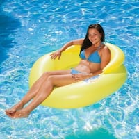 """50"""" Yellow Swimming Pool Water Pop Circular Inflatable Floating Lounger with Black Mesh Seat"""