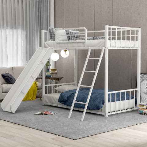 Metal Bunk Bed with Slide, Twin over Twin, White