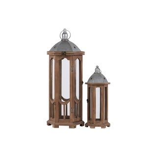 Hexagonal Shaped Wooden Lantern With Galvanized Top, Set Of 2, Natural Brown