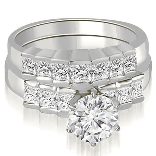 1.85 cttw. 14K White Gold Princess and Round Cut Diamond Bridal Set