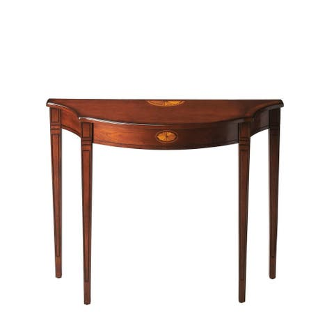 Chester Traditional Olive Ash Burl Demilune Console Table - Medium Brown