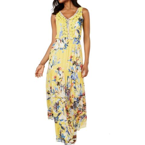 MSK Women's Dress Sunshine Yellow Size 8 Maxi Floral Embellished