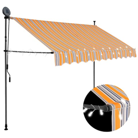 """vidaXL Manual Retractable Awning with LED 98.4"""" Yellow and Blue"""