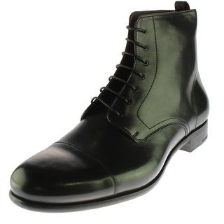 Prada Mens Leather Toe Cap Dress Boots - 12