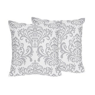 Link to Sweet Jojo Designs Gray and White Damask Skylar Collection Decorative Accent Throw Pillows (Set of 2) Similar Items in Decorative Accessories