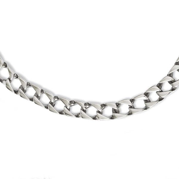Chisel Stainless Steel Polished Square Link 24in Necklace (9 mm) - 24 in