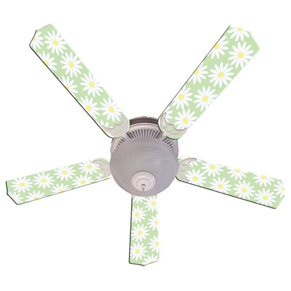 Light Green White Daisy Print Blades 52in Ceiling Fan Light Kit - Multi