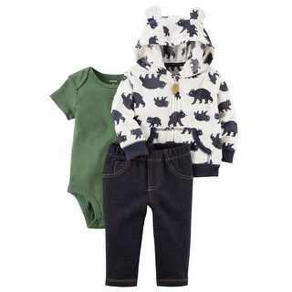 Carter's Baby Boys' 3 Piece Bear Print Little Jacket Set, 9 Months