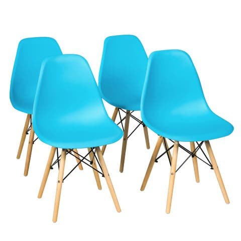 Gymax Set of 4 Mid Century Modern DSW Dining Side Chair Wood Legs Blue