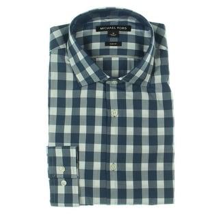 Michael Kors Mens Button-Down Shirt Checkered Slim Fit - M