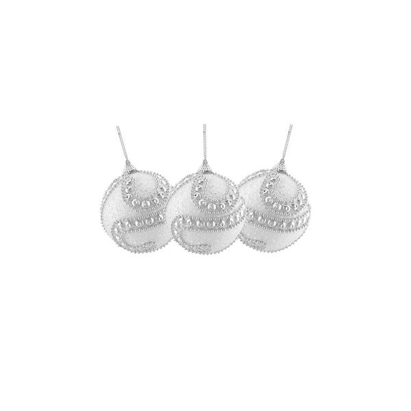 "3ct White and Silver Beaded Antique Glittered Shatterproof Christmas Ball Ornaments 3"" (75mm)"