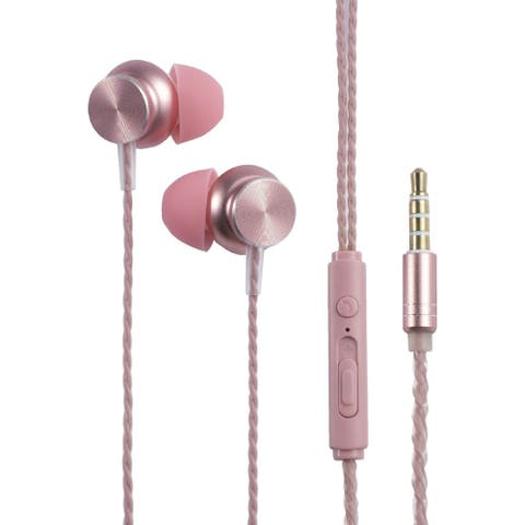 3.5mm In-Ear Wired Headset with Microphone, Rose Gold