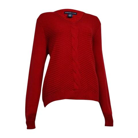 American Living Women's V-Neck Cable Ribbed Sweater