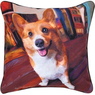 "18"" Paws and Whiskers Corgi Get Low Indoor/Outdoor Decorative Pillow"