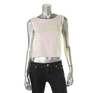 Kiind Of Womens Sequined Lined Crop Top