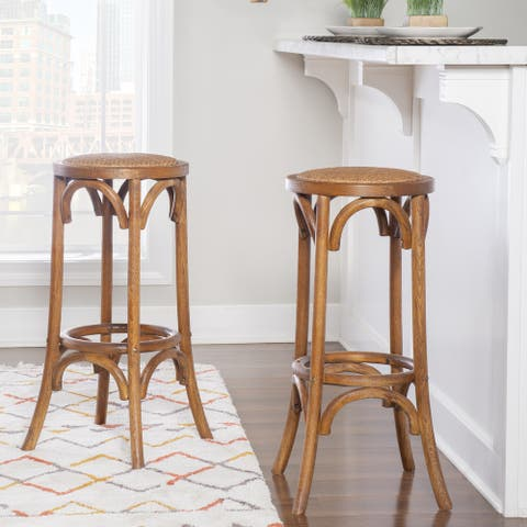 Flint Walnut Backless Bar Stool