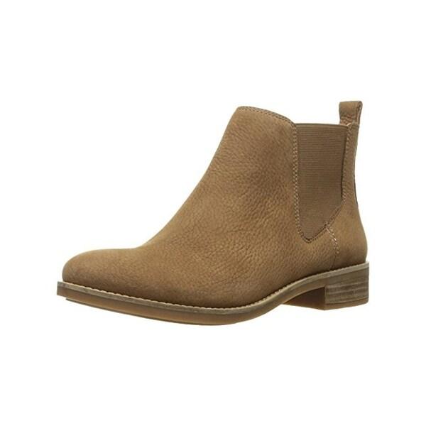 Lucky Brand Womens Noahh Chelsea Boots Nubuck Stacked Heel Tan 5.5 Medium (B,M) - 5.5 medium (b,m)