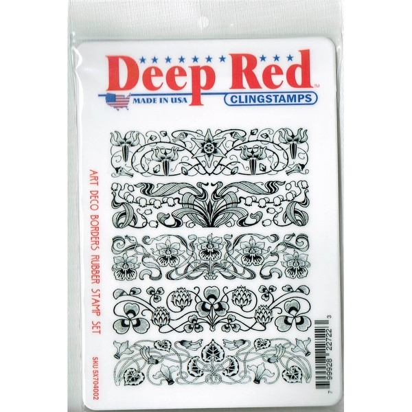 Deep Red Stamps Art Deco Borders Rubber Cling Stamp Set - 4.25 x 5.5