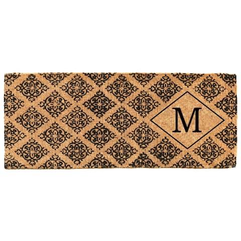 """Regency Monogram Doormat 18"""" x 46"""" x 1.5"""" (Letter M) - 18 x 46 in"""