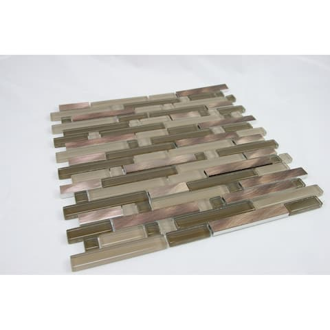 TileGen. Random Brick Glass Mixed Material Mosaic Tile in Brown/Beige Wall Tile (10 sheets/10.6sqft.)
