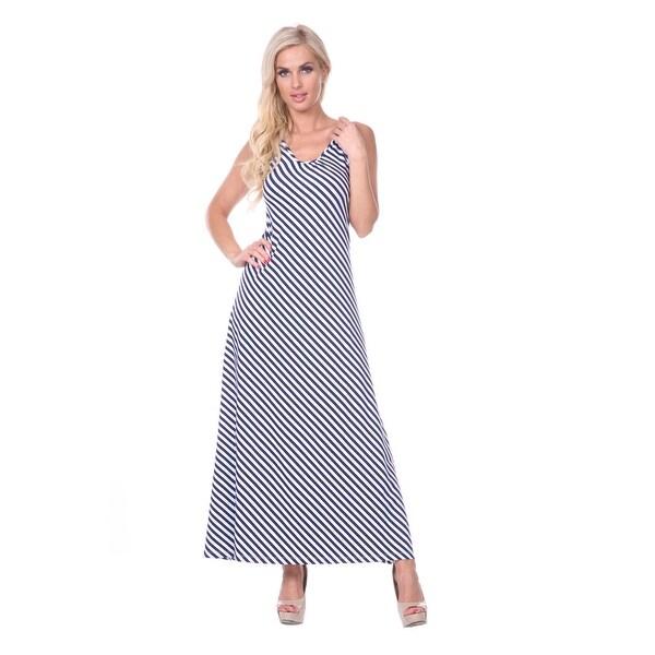 33b524c4668fc Shop Backless Stripe Maxi Dress - Navy & White - On Sale - Free ...