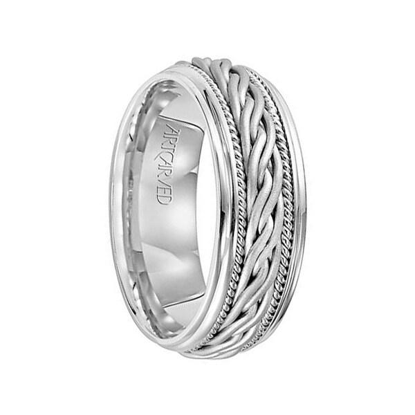 Shop 14k White Gold Wedding Band Woven Design Milgrain Detail By Artcarved 8 Mm Free