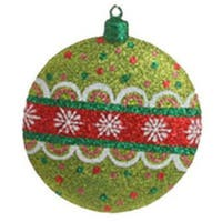 "4"" Christmas Brites Sparkling Green Glittered Disk Ornament"