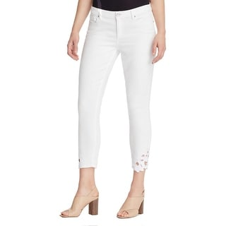 Elie Tahari Womens Azella Skinny Jeans Denim Lace Cut-Out - 30