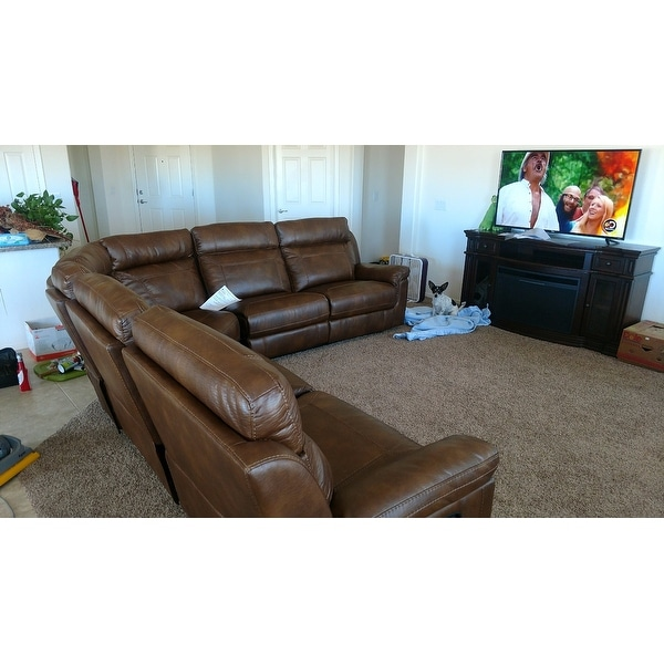 Nicole Brown Large 6-piece Family Sectional with 3 Recliners Cup Holders and Convenient Storage Console - Free Shipping Today - Overstock.com - 14606837  sc 1 st  Overstock.com : sectional with cup holders - Sectionals, Sofas & Couches