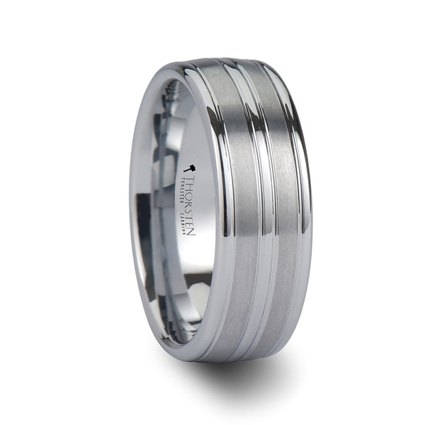THORSTEN - VANCOUVER White Tungsten Ring with Triple Grooves