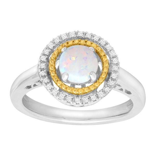 1/2 ct Natural Opal Halo Ring with Diamonds in Sterling Silver & 14K Gold - White