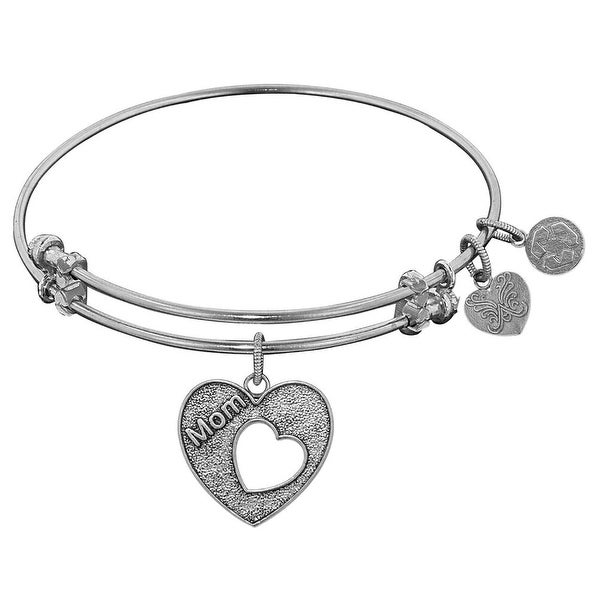 """Angelica Collection Antique Stipple Finish Brass Heart """"Mom"""" Open Heart Expandable Bangle"""